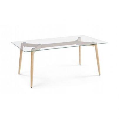 mesa centro alta sobre cristal