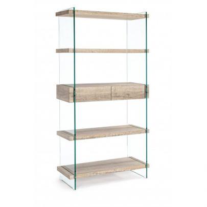 libreria moderna cristal madera