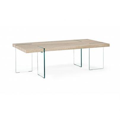 mesa centro cristal madera