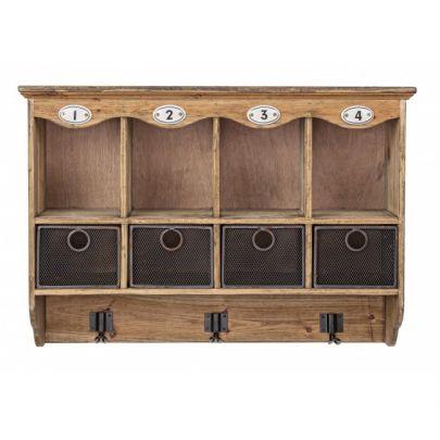 estante de estilo industrial con colgadores y cajones