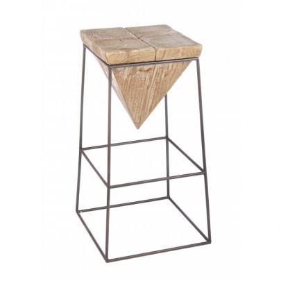Taburete alto madera piramide industrial Prismy