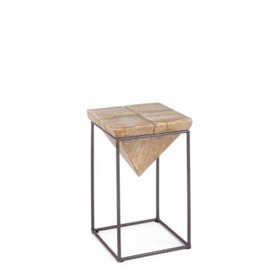 Taburete bajo madera forma piramide