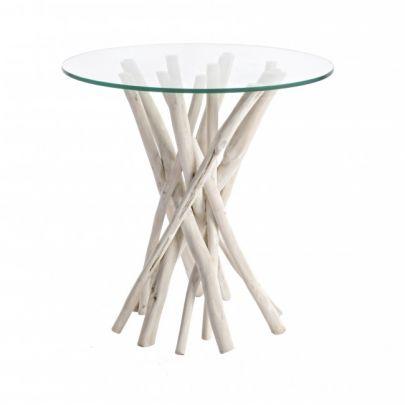 Mesa auxiliar al mas puro estilo nórdico de cristal y madera de teca de Bizzotto