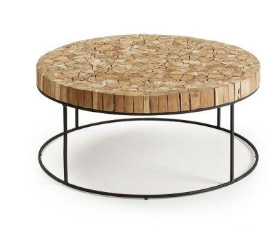 mesa centro redonda trozos madera