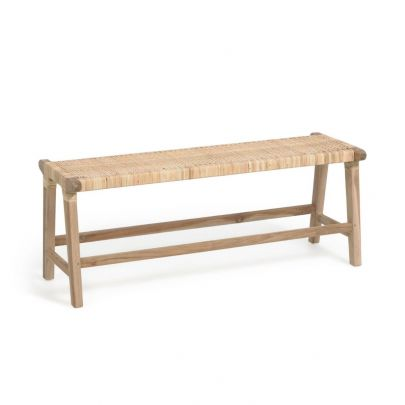 Banco madera maciza teca y ratán