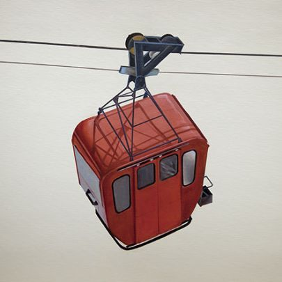 Cuadro telecabina rojo lienzo
