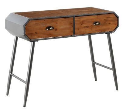 consola industrial hierro madera