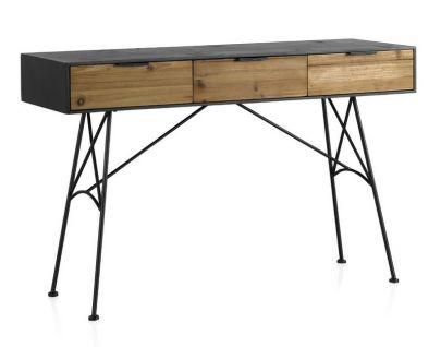consola industrial vintage madera y metal