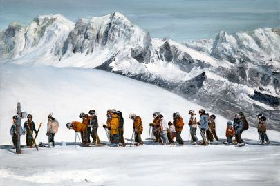 cuadro excursión esquiadores
