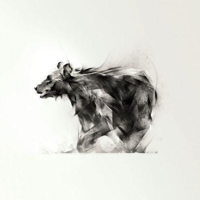 cuadro oso pardo dibujo abstracto