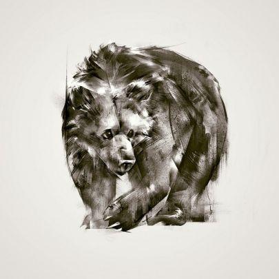 cuadro oso pardo abstracto estilo moderno