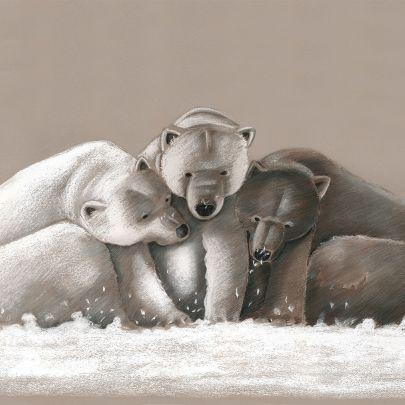 cuadro tres osos polares en la nieve