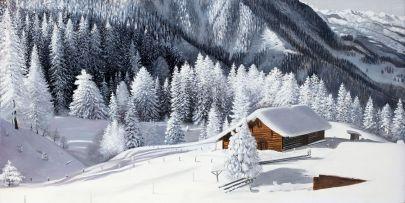 Cuadro cabaña en la montaña