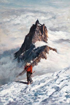 Cuadro de paisaje nevado esquiador