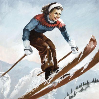 cuadro salto esquiadora