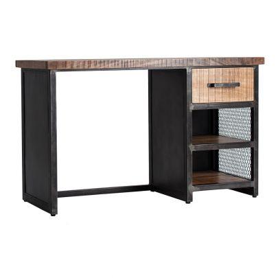 escritorio madera mango hierro industrial