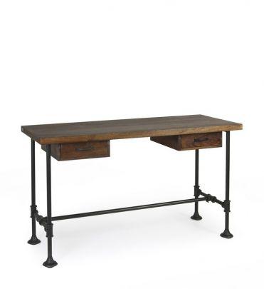 escritorio industrial de madera y metal con dos cajones