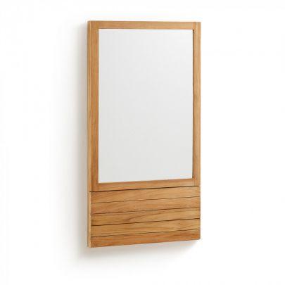 espejo de baño de teca de estilo nordico