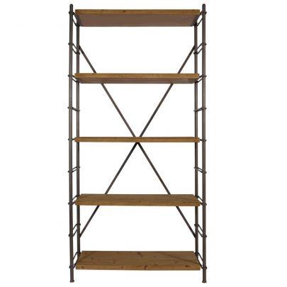 estanteria de estilo inudstrial de madera y metal con estantes regulables