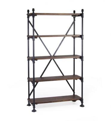 Estanteria industrial con estructura de hierro y madera de mango