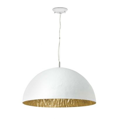 lampara colgante magma-p de color balnco e interior dorado