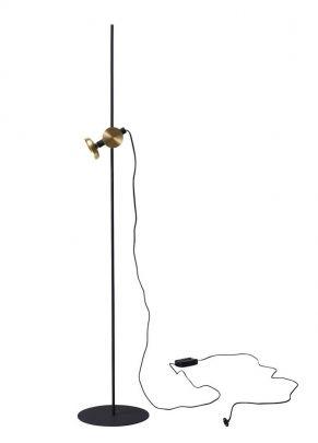 lampara de pie de color negro con acabado dorado del modelo blewnd de la marca pholc