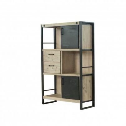 estanteria de diseño industrial fabricada en madera y hierro