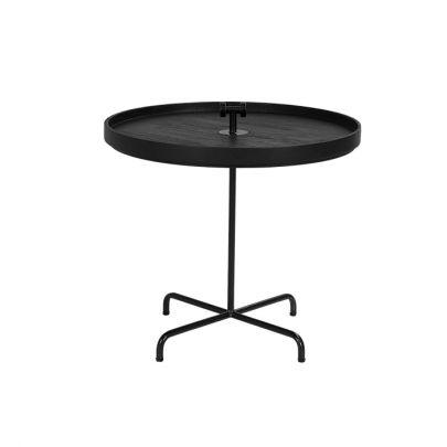 Mesa auxiliar redonda negra teca Bima Dareels