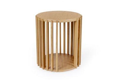 mesita auxiliar Drum de estilo nordico fabricada en roble