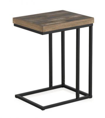 mesa auxiliar industrial madera metal