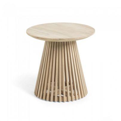 mesa auxiliar redonda de teca maciza estilo nordico JEANETTE