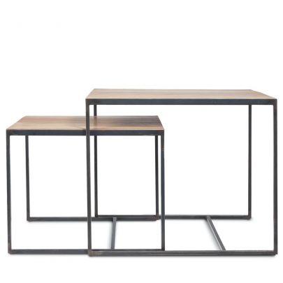 mesa auxiliar Dareels TWO en hierro y teca