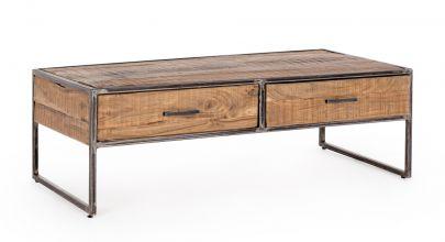 mesa centro hierro y madera