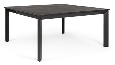 mesa de comedor extensible Konnor cuadrada para exterior negra