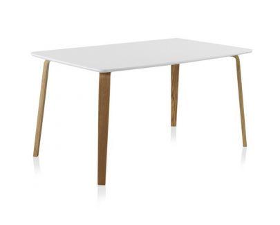 mesa comedor blanca nordica DMF roble