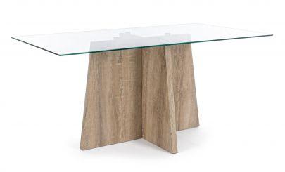 mesa moderna madera cristal