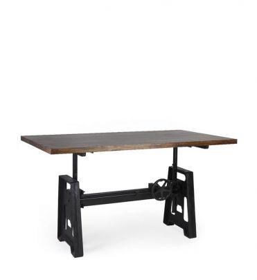 Mesa industrial regulable en altura en madera de mango