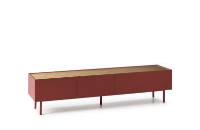 mueble tv nordico acabado rojo