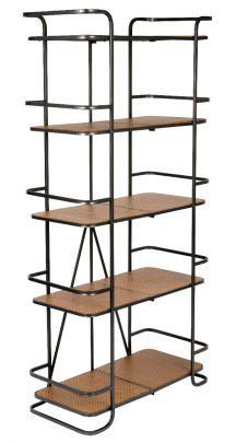 estanteria de estilo indutrial plegable fabricada en madera y hierro